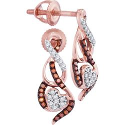 0.15CTW White and Champagne Diamond Mirco-Pave 10KT Earrings Rose Gold
