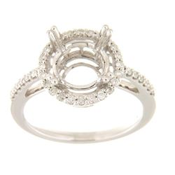 Genuine 14K White Gold 0.35CTW Diamond Semi Mount Ring - REF-71N8A