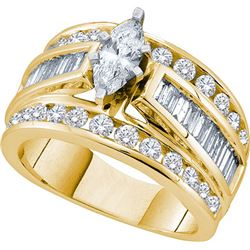 3CT Diamond Bridal 14KT Ring Yellow Gold