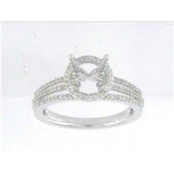 Genuine 14K White Gold 0.31CTW Diamond Semi Mount Ring - REF-51A5X