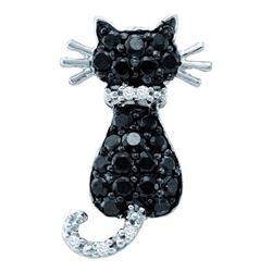 0.33CTW White and Black Diamond Cat 10KT Pendant White Gold