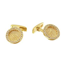 Genuine 0.46TCW 18K Yellow Gold Ladies Cuff Links - REF-150Z2T