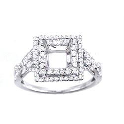 Genuine 14K White Gold 0.49CTW Diamond Semi Mount Ring - REF-56Z6T