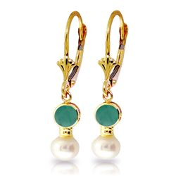 5.2 ctw Emerald & Pearl Earrings Jewelry 14KT Yellow Gold