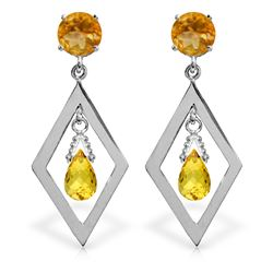 2.4 ctw Citrine Earrings Jewelry 14KT White Gold