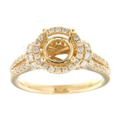 Genuine 14K Yellow Gold 1CTW Diamond Semi Mount Ring - REF-117M3F