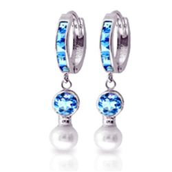 4.3 ctw Blue Topaz & Pearl Earrings Jewelry 14KT White Gold