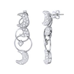 Genuine 18K White Gold 0.89CTW Diamond Earring - REF-142A8X