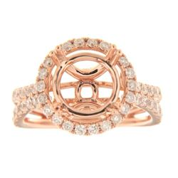 Genuine 14K Rose Gold 1.31CTW Diamond Semi Mount Ring - REF-133N4A