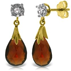 6.06 ctw Garnet & Diamond Earrings Jewelry 14KT Yellow Gold