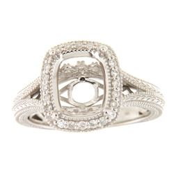 Genuine 14K White Gold 0.26CTW Diamond Semi Mount Ring - REF-59W8G