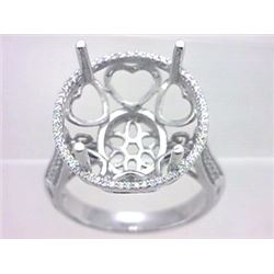 Genuine 18K White Gold 0.39CTW Diamond Semi Mount Ring - REF-92M5F