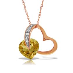 3.2 ctw Citrine & Diamond Necklace Jewelry 14KT Rose Gold
