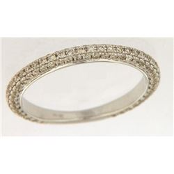 Genuine 14K White Gold 0.36CTW Diamond Band Ring - REF-49M3F