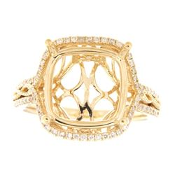 Genuine 14K Yellow Gold 0.51CTW Diamond Semi Mount Ring - REF-81N7A