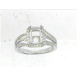 Genuine 14K White Gold 0.54CTW Diamond Semi Mount Ring - REF-67A7X