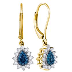 0.50CTW White and Blue Diamond Bridal 10KT Earrings Yellow Gold