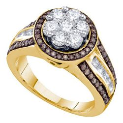 1.35CTW White and Champagne Diamond Anniversary 10KT Ring Yellow Gold