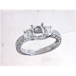 Genuine 18K White Gold 0.7CTW Diamond Semi Mount Ring - REF-138N7A