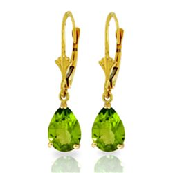 3 ctw Peridot Earrings Jewelry 14KT Yellow Gold