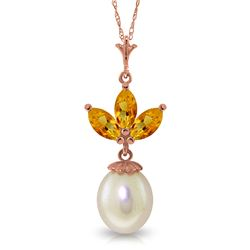 4.75 ctw Citrine & Pearl Necklace Jewelry 14KT Rose Gold