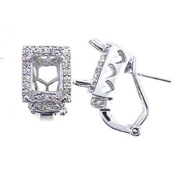 Genuine 14KWhite Gold 0.56CTW Diamond Semi-Mount Earrings - REF-78R2H