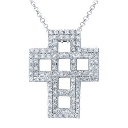 Genuine 1.08 TCW 14K White Gold Ladies Necklace - REF-91K2R
