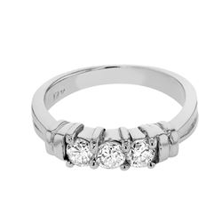 Genuine 14K White Gold 0.45CTW Diamond Wedding Band  - REF-78Z2T