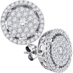 2CT Diamond Anniversary 14KT Earrings White Gold
