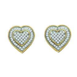 0.35CT Diamond Heart 10KT Earrings Yellow Gold