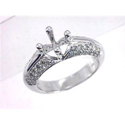 Genuine 14K White Gold 0.78CTW Diamond Semi Mount Ring - REF-67X8Y