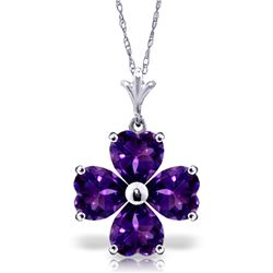 3.8 ctw Amethyst Necklace Jewelry 14KT White Gold