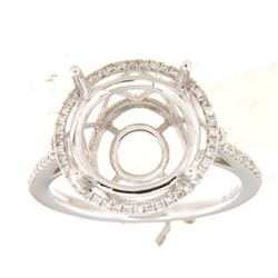 Genuine 14K White Gold 0.28CTW Diamond Semi Mount Ring - REF-55G8M