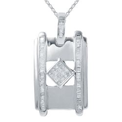 Genuine 1.06 TCW 14K White Gold Ladies Pendant - REF-124W6G