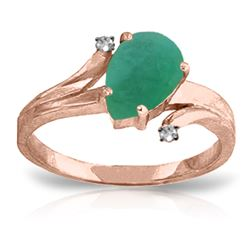 1.01 ctw Emerald & Diamond Ring Jewelry 14KT Rose Gold