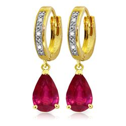 3.53 ctw Ruby & Diamond Earrings Jewelry 14KT Yellow Gold