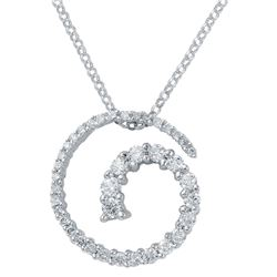 Genuine 0.49 TCW 14K White Gold Ladies Necklace - REF-53G5M