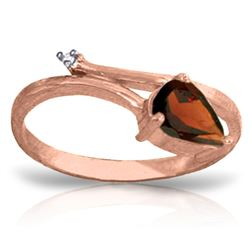 0.83 ctw Garnet & Diamond Ring Jewelry 14KT Rose Gold