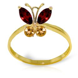 0.60 ctw Garnet & Citrine Ring Jewelry 14KT Yellow Gold