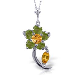 0.87 ctw Citrine & Peridot Necklace Jewelry 14KT White Gold