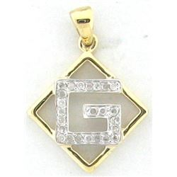 Genuine 14K Yellow Gold 0.15CTW Diamond Pendant - REF-17N4A