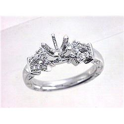 Genuine 18K White Gold 0.25CTW Diamond Semi Mount Ring - REF-81N4A