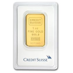 One pc. 1 oz .9999 Fine Gold Bar - Credit Suisse In Assay