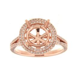 Genuine 14K Rose Gold 0.63CTW Diamond Semi Mount Ring - REF-93Y3Z