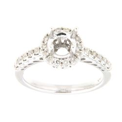 Genuine 14K White Gold 0.42CTW Diamond Semi Mount Ring - REF-55W2G