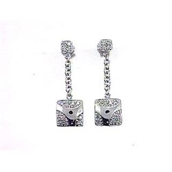 Genuine 18K White Gold 0.52CTW Diamond Earring - REF-79F3N