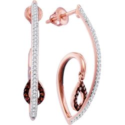 0.25CTW White and Champagne Diamond Anniversary 10KT Earrings Rose Gold