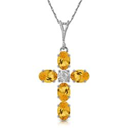 1.88 ctw Citrine & Diamond Necklace Jewelry 14KT White Gold