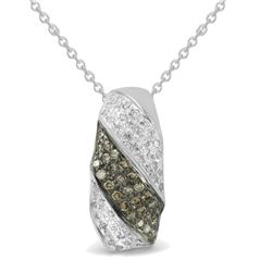 Genuine 0.37 TCW 14K White Gold Ladies Pendant - REF-35R5H