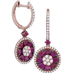 0.50CT Diamond and 1.30CT Ruby Anniversary 18KT Earrings White Gold